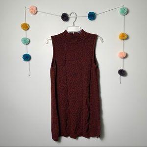 Style & Co Red Black/Blue Sleeveless Sweater Dress